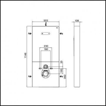 Cisterna empotrada QR-INOX botón esquema