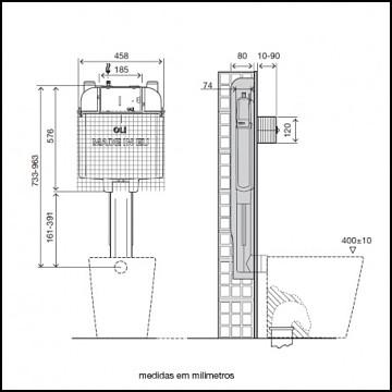 Cisterna para bidé OLI 74 Plus esquema