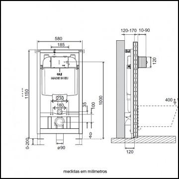 Cisterna para bidé OLI Expert Evo esquema