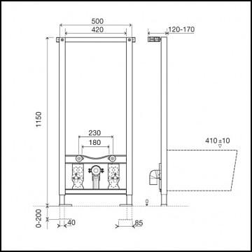 Estructura para bidé sanitarblock esquema