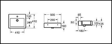 Lavabo Nativo sobre enciemera modelo 56 medidas
